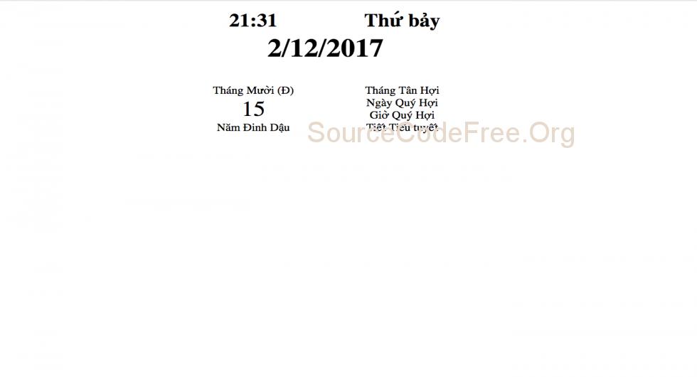 Source code tính ngày dương âm lịch lunar calendar year viết