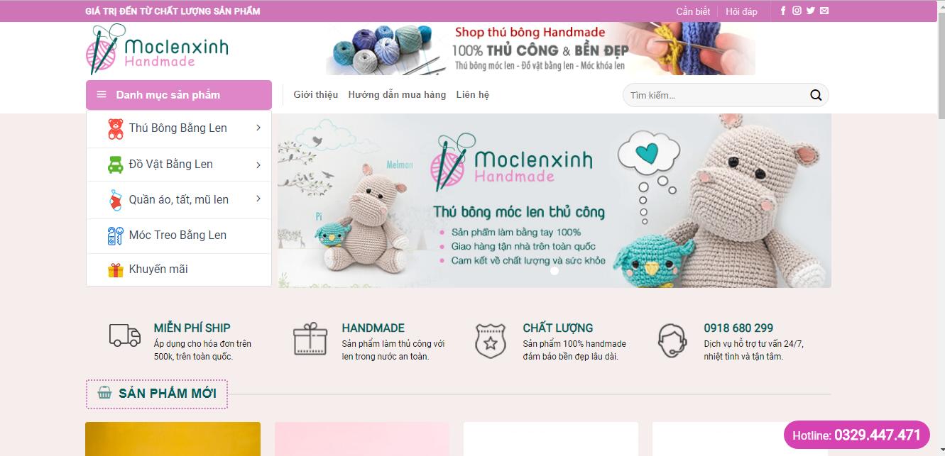 Full code wordpress website bán hàng móc khóa len xinh